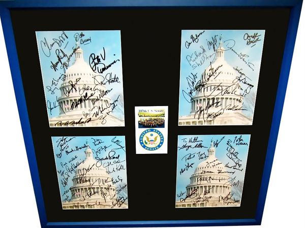 107th U.S. Senate autographed 8x10 photos matted and framed Hillary Clinton Ted Kennedy John McCain Fred Thompson Paul Wellstone