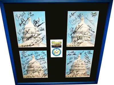 107th U.S. Senate autographed 8x10 photos matted & framed (Hillary Clinton Edward Kennedy John Kerry John McCain Fred Thompson Paul Wellstone)