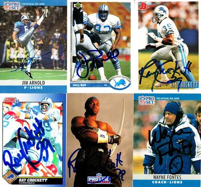 12 Detroit Lions autographed cards (Jerry Ball Brett Perriman Robert Porcher Tracy Scroggins)