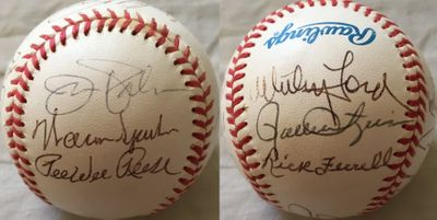 13 Hall of Famers autographed AL baseball (Yogi Berra Rick Ferrell Whitey Ford Willie McCovey Pee Wee Reese Willie Stargell)