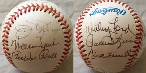 13 Hall of Famers autographed AL baseball (Yogi Berra Rick Ferrell Willie McCovey Pee Wee Reese Willie Stargell)