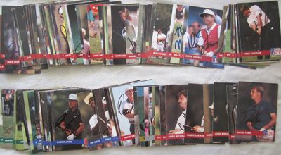 Partial set of 129 autographed 1992 Pro Set PGA Tour golf cards Fred Couples Nick Faldo Bernhard Langer Sandy Lyle Gary Player Lee Trevino