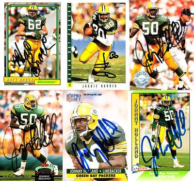 14 Green Bay Packers autographed cards (Johnny Holland Chris Jacke Ed West)