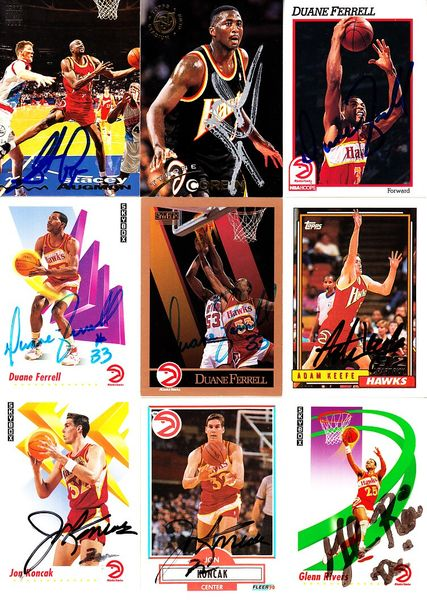 15 Atlanta Hawks autographed 1990s cards (Stacey Augmon Doc Rivers)