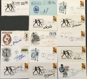 14 boxing Hall of Famers autographed cachet envelopes (Don King Willie Pep Max Schmeling)