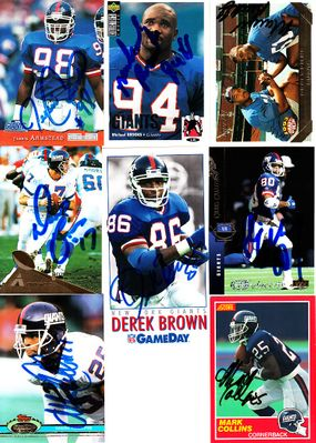 16 New York Giants autographed cards (Jessie Armstead Chris Calloway Mark Collins Bart Oates William Roberts)