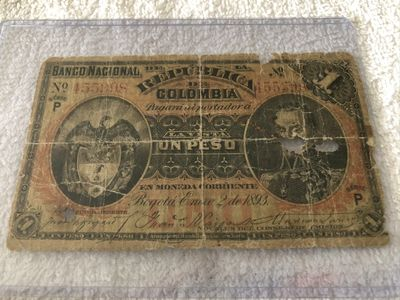 1893 National Bank of Colombia (Banco Nacional) One Peso authentic Banknote (RARE)