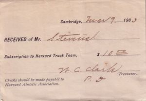 1903 Harvard Track Team ticket receipt