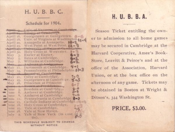 1904 Harvard Baseball pocket schedule