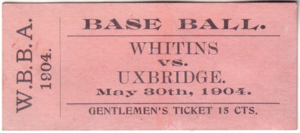 1904 Whitins vs Uxbridge Worcester Baseball Association ticket