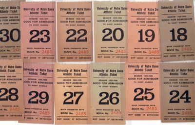 1925 and 1926 Notre Dame lot of 12 student tickets (college basketball and football)