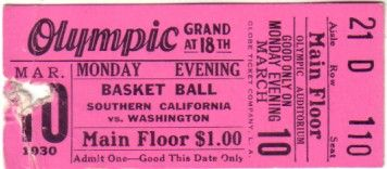 1930 USC Trojans vs. Washington Huskies college basketball ticket stub