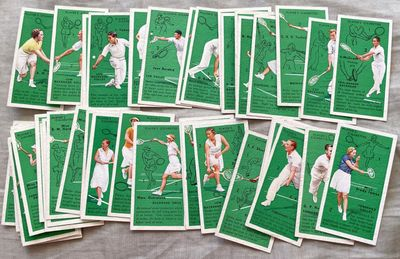 1936 Player and Sons complete 50 card tennis set (Jean Borotra Don Budge Jack Crawford Helen Jacobs Fred Perry Gottfried von Cramm)