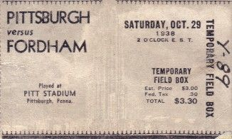 1938 Fordham vs Pittsburgh college football ticket stub (Marshall Goldberg vs. 7 Blocks of Granite)