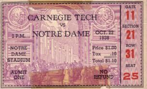 1938 Notre Dame vs Carnegie Tech college football ticket stub (Elmer Layden)