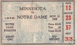 1938 Notre Dame vs Minnesota college football ticket stub (Elmer Layden coaches Irish to 300th Victory)