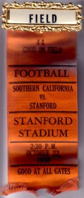 1938 USC Trojans at Stanford Cardinal college football field access pin with ribbon