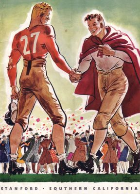 1938 USC Trojans at Stanford Cardinal college football game program and ticket stub