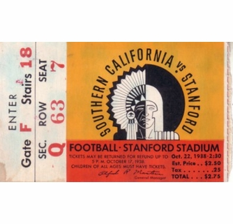 1938 USC Trojans at Stanford Cardinal college football game program