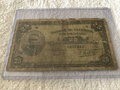 1942 Banque De L'Afrique Occidentale (Bank of West Africa) 25 Francs Banknote RARE