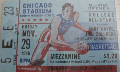 1946 Fort Wayne Zollner Pistons vs. College All-Stars National Basketball League (NBL) ticket stub
