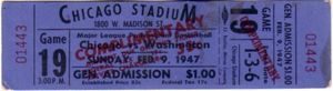 1947 Chicago Stags vs. Washington Capitols Basketball Association of America (BAA) full unused ticket