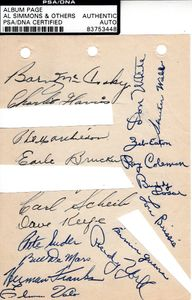1948 Philadelphia Athletics team autographed album page PSA/DNA (Buddy Rosar)