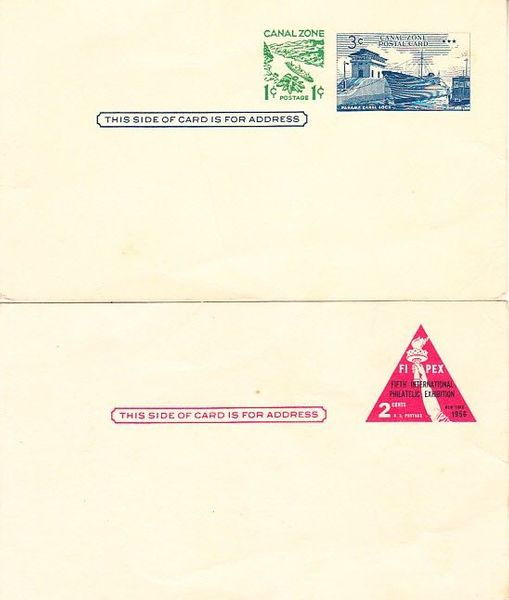1956 FIPEX and 1963 Canal Zone unused USPS postal card lot of 2