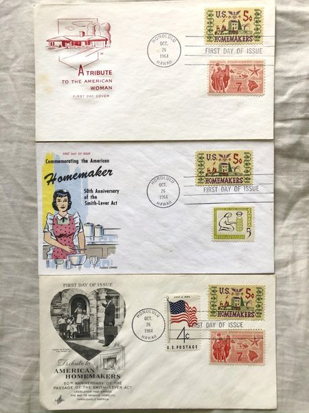1964 American Homemakers lot of 3 different First Day Cover cachet envelopes