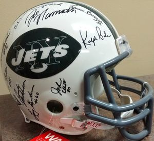 1968 New York Jets Super Bowl III Champion Team autographed full size game model helmet (Joe Namath) JSA
