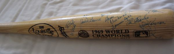 1969 New York Mets World Series Champions team autographed bat (Tommie Agee Cleon Jones Jerry Koosman) JSA