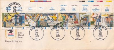 1973 U.S. Postal Service People Serving You oversized First Day Cover