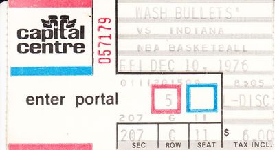 1976 Washington Bullets vs. Indiana Pacers ticket stub (inaugural NBA season)