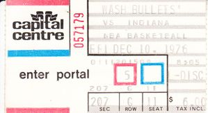 1976 Washington Bullets vs. Indiana Pacers ticket stub (inaugural season in NBA)