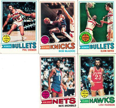 1977-78 Topps basketball lot of 5 cards (Nate Archibald Elvin Hayes Bob McAdoo)