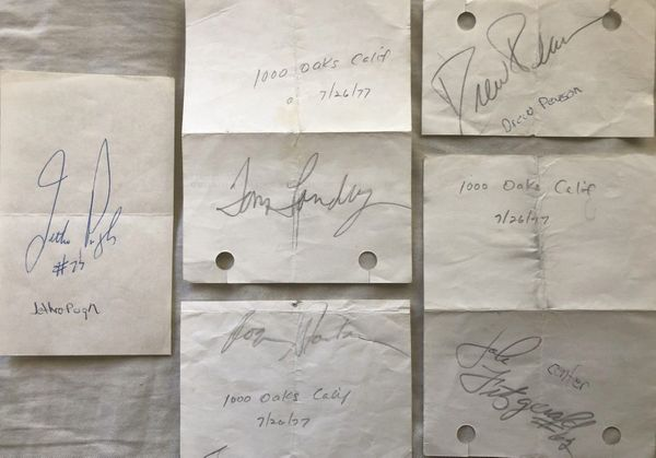 1977 Dallas Cowboys autographed papers or cut signatures Tom Landry Roger Staubach Jethro Pugh Drew Pearson