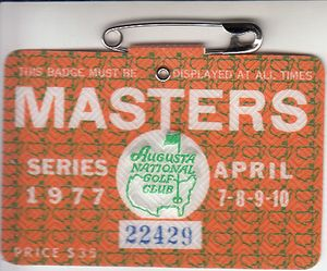1977 Masters badge PRISTINE (Tom Watson wins first green jacket)