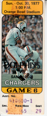 1977 Miami Dolphins vs. San Diego Chargers ticket stub