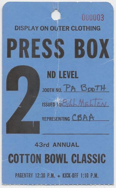1979 Cotton Bowl press box pass Joe Montana Notre Dame Chicken Soup Game