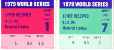 1979 World Series Game 1 & Game 7 ticket stubs (PIttsburgh Pirates win)