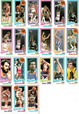 1980-81 Topps basketball lot of 7 panel cards (Kareem Abdul-Jabbar Nate Archibald Elvin Hayes Moses Malone)