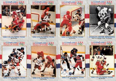 1980 Miracle on Ice USA Hockey Team set of 8 different 1991 Impel U.S. Olympic Hall of Fame cards (Herb Brooks)