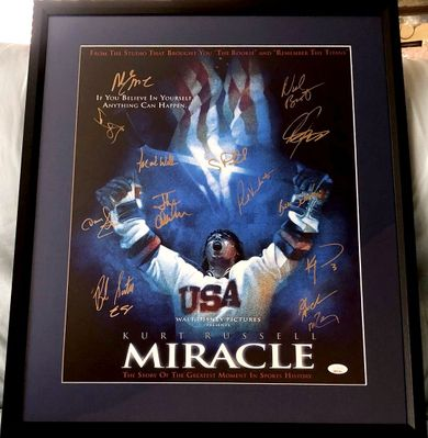1980 Miracle on Ice USA Olympic Hockey Team autographed Miracle 16x20 movie poster print matted and framed (JSA)