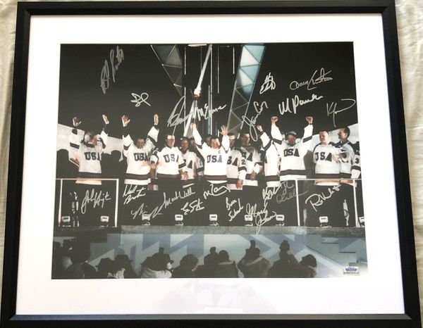 1980 Miracle on Ice USA Olympic Hockey Team autographed 2002 Olympic Torch Ceremony 16x20 photo matted and framed (Grandstand)