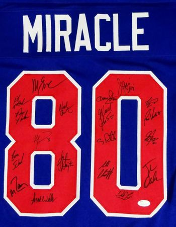 1980 Miracle on Ice USA Olympic Hockey Team autographed jersey with 19 signatures (JSA Witnessed)
