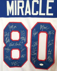 1980 Miracle on Ice USA Olympic Hockey Team autographed jersey with 20 signatures (JSA Witnessed)