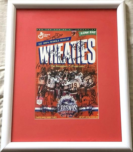 1980 Miracle on Ice USA Olympic Hockey Team with Herb Brooks autographed Wheaties box matted and framed JSA (To Theo)