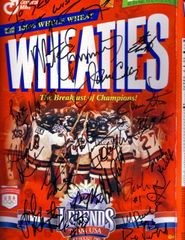 1980 Miracle on Ice USA Olympic Hockey Team autographed Wheaties box matted and framed (to Steve)