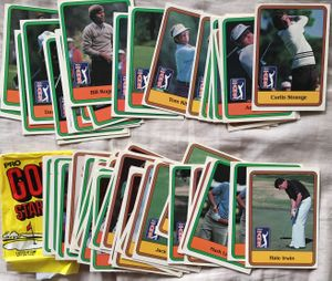 1981 Donruss PGA Tour Golf lot of 57 cards with wax wrapper (Jack Nicklaus)