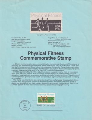 1983 Physical Fitness 20 cent stamp souvenir page with First Day cancellation